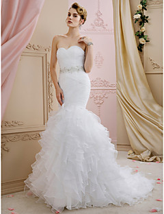 cheap Wedding Dresses-Mermaid / Trumpet Sweetheart Sweep / Brush Train Organza Custom Wedding Dresses with Sashes / Ribbons Cascading Ruffles by LAN TING BRIDE®