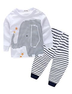 billige Tøjsæt til drenge-Drenge Tøjsæt Stribe, Bomuld Forår Efterår Langærmet Stribet Hvid