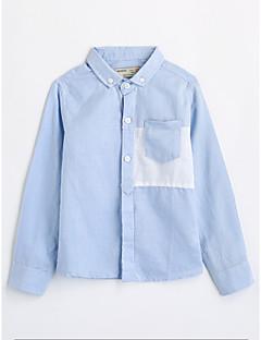 Χαμηλού Κόστους Ρούχα για Αγόρια-Αγορίστικα Πουκάμισο Βαμβάκι Μονόχρωμο Φθινόπωρο Μακρυμάνικο Θαλασσί