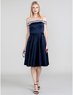 cheap Special Occasion Dresses-Princess Off Shoulder Knee Length Satin Cocktail Party / Homecoming / Prom / Black Tie Gala / Holiday Dress with Beading Sash / Ribbon by