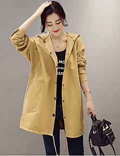 Women's Going out Casual/Daily Simple Vintage Cute Fall Winter Trench Coat,Solid Hooded Long Sleeve Regular Cotton Jacquard