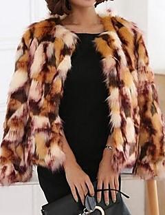 billiga Dampälsar och läder-Vinter Kamouflage Party Dagligen Kort Fur Coat, Vintage Gulligt Streetchic Dam Rund hals Fuskpäls Rävpäls