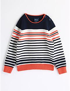 billige Overdele til drenge-Drenge Bluse Stribe, Bomuld Efterår Langærmet Stribet Navyblå