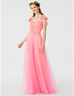 cheap Romance Blush-A-Line Princess Straps Floor Length Lace Tulle Bridesmaid Dress with Side Draping Ruffles by LAN TING BRIDE®