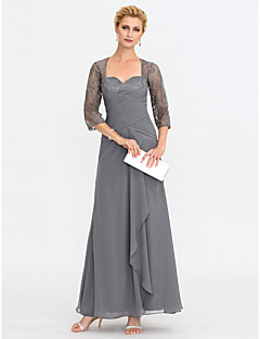 cheap Mother of the Bride Dresses-Sheath / Column Square Neck Ankle Length Chiffon Corded Lace Georgette Mother of the Bride Dress with Appliques Criss Cross by LAN TING