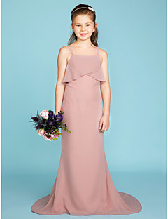 Sheath / Column Spaghetti Straps Sweep / Brush Train Chiffon Junior Bridesmaid Dress with Tiered by LAN TING BRIDE®