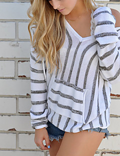 Women's Daily Going out Cute Sexy Regular Pullover,Solid Round Neck Long Sleeves Cotton Winter Fall Medium Micro-elastic