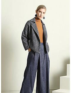 Damen Solide Street Schick Ausgehen Jacke,Hemdkragen Herbst Lange Ärmel Standard Baumwolle