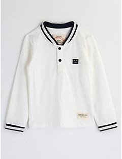 billige Overdele til drenge-Drenge Bluse Ensfarvet, Bomuld Efterår Langærmet Hvid