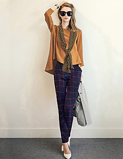 Women's Daily Holiday Casual Street chic Fall T-shirt Pant Suits,Solid Plaid/Check Round Neck Long Sleeve Polyester