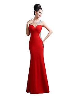 Mermaid / Trumpet Sweetheart Floor Length Lycra Prom Formal Evening Dress with Beading by Sarahbridal