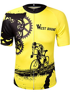 cheap Cycling Clothing-WEST BIKING® Short Sleeves Cycling Jersey - Yellow Bike Jersey, Quick Dry, Reflective Strips