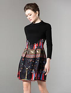 Damen A-Linie Kleid-Festtage Ausgehen Lässig/Alltäglich Retro Street Schick Anspruchsvoll Druck Rundhalsausschnitt Mini Langarm Baumwolle