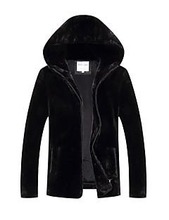 コート レギュラー パッド入り メンズ,プラスサイズ ソリッド フェイクファー ポリエステル-シンプル 長袖