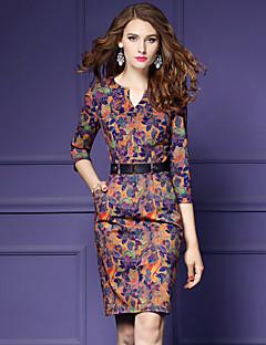 Χαμηλού Κόστους YHSP-Γυναικεία Μεγάλα Μεγέθη Εξόδου Βίντατζ / Κομψό στυλ street / Εκλεπτυσμένο Λεπτό Εφαρμοστό / Θήκη Φόρεμα - Φλοράλ, Στάμπα Πάνω από το Γόνατο Λαιμόκοψη V