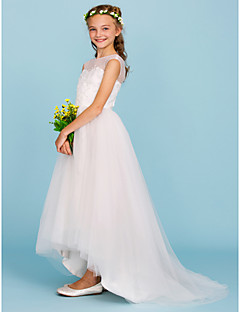 Plesové šaty Tričkový Asymetrické Tyl Šaty pro malou družičku s Korálky podle LAN TING BRIDE®