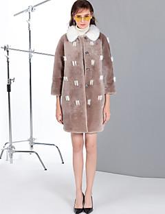 Χαμηλού Κόστους Women's Wool Coats-Γυναικεία Κανονικό Γούνινο παλτό Καθημερινά Εξόδου Απλός Βίντατζ Χαριτωμένο Καθημερινό Μονόχρωμο Συνδυασμός Χρωμάτων Χειμώνας Μαλλί