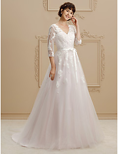 cheap High-end Wedding Dresses-A-Line / Princess V Neck Court Train Lace / Tulle Made-To-Measure Wedding Dresses with Beading / Appliques / Sashes / Ribbons by LAN TING