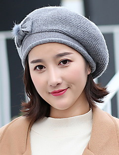 billige Trendy hatter-Dame Hatt Vintage Stil Beret,Alle årstider Ensfarget Genser Sløyfe Ren Farge Blomster Rød Rosa Mørkegrå Grå Kakifarget
