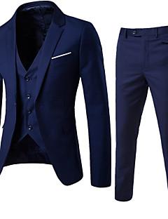 Herren Solide Street Schick Ausgehen Lässig/Alltäglich Arbeit Anzug,Gekerbtes Revers Frühling Herbst Langärmelige Standard Baumwolle Acryl