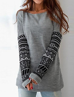 Women's Daily Sweatshirt Print Round Neck Micro-elastic Polyester Long Sleeve Fall