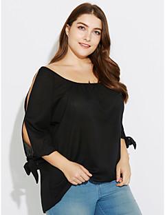お買い得  レディーストップス-女性用 リボン スリット プラスサイズ Tシャツ ソリッド