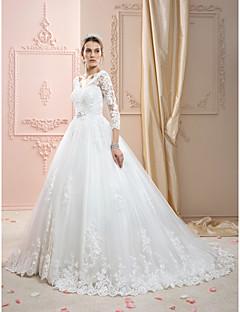 baratos Loja de Casamentos-De Baile Decote V Cauda Corte Renda sobre Tule Vestidos de casamento feitos à medida com Apliques / Detalhes em Cristal de LAN TING BRIDE®