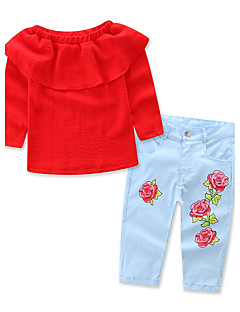 Girls' Solid Floral Print Sets,Cotton Polyester Spring Fall Long Sleeve Clothing Set
