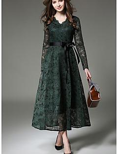 זול אופנה ובגדי נשים-צווארון V מקסי מידי אחיד - שמלה נדן תחרה רזה סגנון רחוב בגדי ריקוד נשים