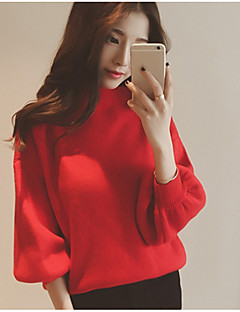 Women's Casual/Daily Simple Regular Pullover,Solid Turtleneck Long Sleeves Nylon Spring Thin Micro-elastic
