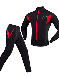 Realtoo Cycling Jacket with Pants Unisex Long Sleeves Bike Clothing Suits Windproof Rain-Proof Breathability 100% Polyester Solid Winter