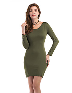 Women's Holiday Casual/Daily Bodycon Dress,Solid Round Neck Mini Long Sleeves Polyester Fall Winter High Rise Micro-elastic Medium