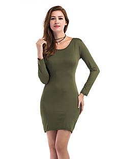 Kadın Tatil Günlük/Sade Bandaj Elbise Solid,Uzun Kollu Yuvarlak Yaka Mini Polyester Sonbahar Kış Yüksek Bel Mikro-Esnek Orta