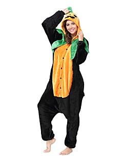 billige Kigurumi-Kigurumi-pysjamas Gresskar Tegneserie Onesie-pysjamas Kostume Flanell Fleece Svart Grønn Cosplay Til Pysjamas med dyremotiv Tegnefilm