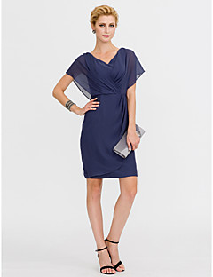 Sheath / Column V-neck Knee Length Chiffon Mother of the Bride Dress with Criss Cross Pleats by LAN TING BRIDE®