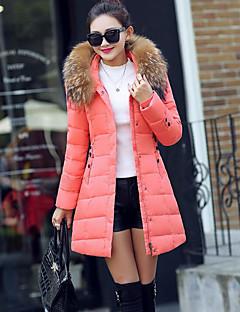 Damen Daunenjacke Mantel Einfach Lässig/Alltäglich Solide-Baumwolle Polypropylen Langarm