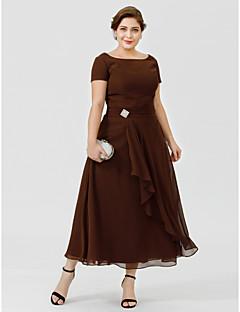 A-Linie Princess Bateau Neck Po lýtka Šifón Šaty pro matku nevěsty - Křišťálová brož podle LAN TING BRIDE®