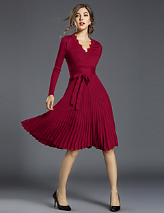cheap Women's Fashion & Clothing-Women's Vintage / Sophisticated Slim A Line Dress - Solid Colored V Neck