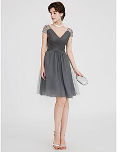 저렴한 특별한 이벤트 드레스-A-라인 V 넥 숏 / 미니 쉬폰 튤 칵테일 파티 / 댄스 파티 드레스 와 비즈 크리스 크로스 으로 TS Couture®
