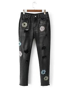 Dámské Mikro elastické Džíny Kalhoty Štíhlý Mid Rise Výšivka