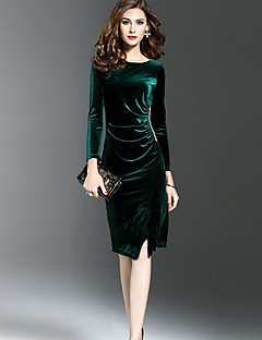 Women's Going out Work Sexy Street chic Sophisticated Sheath Dress,Solid Round Neck Knee-length Long Sleeves Others Winter Fall Mid Rise