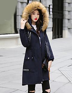 Dames Street chic Herfst Winter Trenchcoat,Casual/Dagelijks Effen Capuchon Lange mouw Normaal Polyester