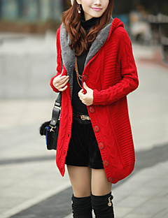 Women's Daily Going out Street chic Winter Fall Coat,Solid Hooded Long Wool Cotton Spandex