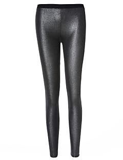 Mulheres Sólido Metálica Legging