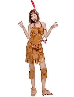 billige Halloweenkostymer-amerikansk indianer Cosplay Kostumer Jul Halloween Karneval Oktoberfest Nytt År Festival / høytid Halloween-kostymer Brun Helfarge Mote