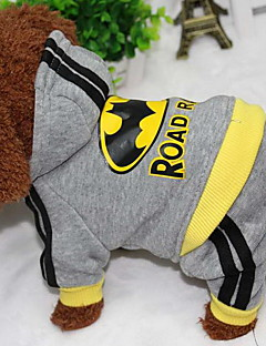 cheap Dog Clothes-Dog Coat Hoodie Jumpsuit Dog Clothes Letter & Number Gray Cotton Costume For Pets Casual/Daily