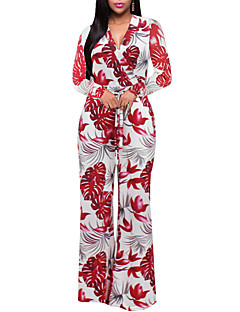 Women's Going out Holiday Vintage Sexy Boho Floral Color Block Geometric V Neck Jumpsuits,Wide Leg Long Sleeve Spring Fall Polyester