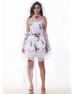 billige Halloweenkostymer-Zombie Brud Kjoler Maskerade Kvinnelig Halloween Karneval De dødes dag Festival / høytid Halloween-kostymer Grå Trykt mønster Nyhet