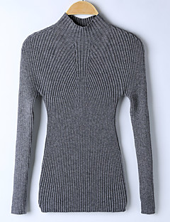 Women's Going out Regular Pullover,Solid Turtleneck Long Sleeves Others Winter Spring Medium Micro-elastic