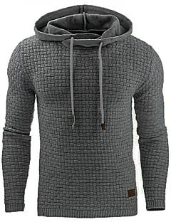 Miehet Plus-koko Rento/arki Plus-koko Yksinkertainen Huppari Yhtenäinen Puuvilla Akryyli Polyesteri Mikroelastinen Pitkähihainen Kevät